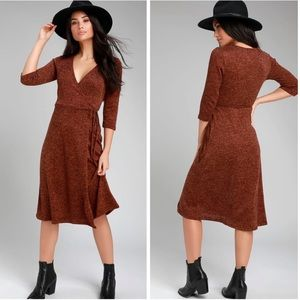 Lulus Isadore Marled Wrap Midi Dress Large Q3204